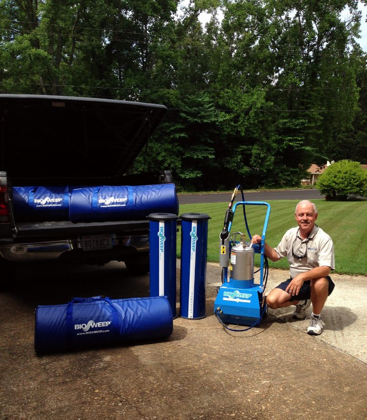 Owner Roy Ponder with Biosweep equipment